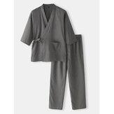Pamuk Erkek Düz Renk Japon Tarzı Kimono Bornoz Ev Pijama Takımı