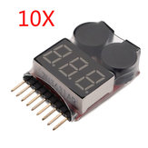 10 x 2 in 1 Lipo Battery Low Voltage Tester 1S-8S Zoemeralarm
