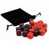 24Pcs Würfel Spiel Gadget Rot und Schwarz Spaß haben Würfel Set für Bar KTV Karaoke Party Home Tischspiel mit Aufbewahrungstasche