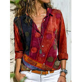 Women Vintage Print Double Pocket Button Up Long Sleeve Lapel Casual Blouse