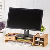 حامل خشبي مراقب للكمبيوتر المكتبي الناهض LED LCD مراقب دفتر ملاحظات للكمبيوتر المحمول الدعم حامل أدوات تخزين الملفات درج رف درج