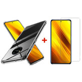 Bakeey for POCO X3 NFC Accessories with Air Bag Transparent Non-Yellow Soft TPU Protective Case + Anti-Explosion Tempered Glass Screen Protector Non-Original