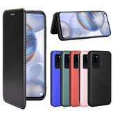 Bakeey for Oukitel C21 Case Carbon Fiber Pattern Flip with Card Slot Stand PU Leather Shockproof Full Body Protective Case