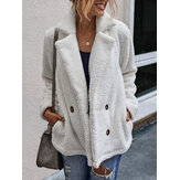 Women Solid Color Double Breasted Plush Warm Coat With Pocket