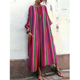 Plus Size Casual Stripe Round Neck Maxi Dress with Pockets