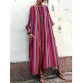 Plus size casual gestreepte maxi-jurk met ronde hals en zakken