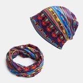 Frauen Baumwolle Farbabstimmung Dual-Use Soft Elastic Casual Sonnenschutz Atmungsaktiver Nackenschutz Schal Lätzchen Brimless Beanie Hut