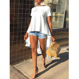Women Solid Color Crew Neck High Low Hem Loose Casual Blouse