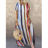 Casual Loose Crew Neck Short Sleeve Striped Baggy Maxi Dress