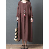 Women Long Sleeve Loose Solid Vintage Dress