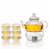 600ml 6 Cups Tealight Warmer Clear Pumpkin Tea Glass Pot Set Infuser Coffee Pot