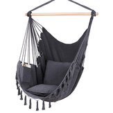 Max 330Lbs/150KG Hammock Chair Hanging Rope Swing with 2 Cushions Included Large Tassel Hanging Chair with Pocket
