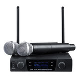 UHF 613-870MHz Professional Dual-channel Wireless Microphone System Karaoke Amplifier with 2 Handheld Microphones