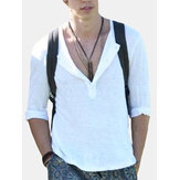 Men Casual Beach T Shirt Summer Thin Henley Plain Top Tee Slim Fit Shirt Holiday