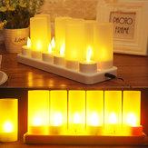 12 ADET LED Şarj Edilebilir Mum Lambaları Alevsiz Sıcak Çay Işık Dekorasyon
