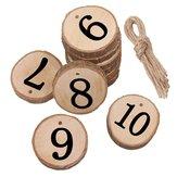 10Pcs / Lot Laser Numero di legno che appende le carte del tavolo di nozze Ciondolo di ricezione della decorazione della festa nuziale