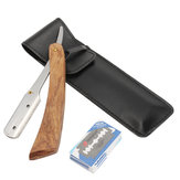Rosewood Handle Straight Edge Barber Razor Folding Shaving Cutter with 10 Blades