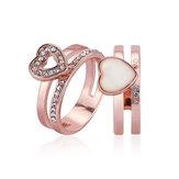2pcs Heart Shape Enamel Rhinestone Rose Gold Engagement Ring Fine Jewelry for Women