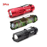 3 Unids 3 Colores MECO Q5 500LM Multicolor Zoomable Mini LED Linterna 14500 / AA