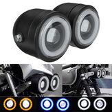 12V Hi / LOビームブラックツインヘッドライトモーターサイクルダブルデュアルランプストリートエンジェルアイズファイターネイキッドドミネーター
