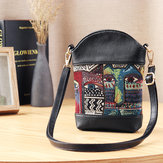 Women National Cat Embroidery Bucket Bag PU Leather Bag