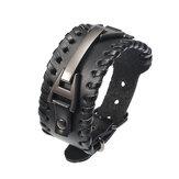 Punk Genuine Leather Bangle Chain Handgemaakt Alloy Geweven Wide Adjustable Men Armband