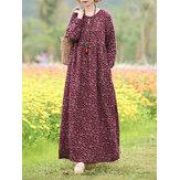 Women Floral Print O-Neck Long Sleeve Bohemian Holiday Maxi Dress With Pocket