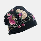 Vrouwen katoen borduurwerk bloemenprint Etnische stijl muts Hoed Ademende tulband cap