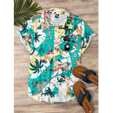 Mens Fashion Tropical Style Printing Breathable Short Sleeve Casual Shirts