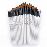 24 Pcs Pinceau-brosse Artiste Cheveux en Nylon Paint Brosse Art Huile Aquarellée Peinture à l'huile