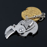 ECUBEE Coin Shaped EDC Portable Folding Knife Outdoor Pocket Survival Tool with Keychain