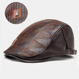 Collrown Men Faux Leather Stripe Шаблон Винтаж Solid Color Forward Шапка Берет Шапка