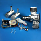 DLE Gasoline Engine DLE40 40CC Single Cylinder Two-Stroke Side Exhaust Air-cooled Hand Start With Ignition and Exhaust Pipe For RC Airplane