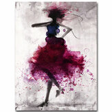 Fashion Red Girl Minimalist Abstract Art Canvas Oil Print Paintings Framed/Unframed