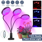 1/2/3 Head Plant Grow Light Head LED lampada Hydroponics Serra Garden Dimmerabile per interni flessibile a 360 °