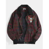 Mens Cartoon Elk Graphics Vintage Plaid Borg Collar Jacket With Pocket