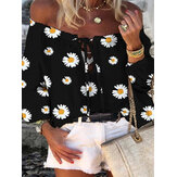 Daisy Print Off Shoulder Long Sleeve Casual Blouse For Women