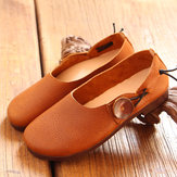 SOCOFY Femme Cuir Décontracté Extérieur Soft Chaussures à enfiler plates