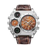 OULM 1349 Dual Time Zones Creative Quartz Watch Big Dial Military Style Men Watches