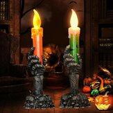Cadılar bayramı Işık Alevsiz Plastik Mumlar Cadılar Bayramı Dekorasyon Sahne Hayalet Işık