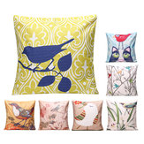 45x45cm Bird Flax Square Pillow Case Cushion Cover Sofa Throw Home Bedroom Decor