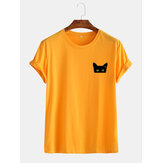 Heren Sample Cartoon Cat Graphic Casual katoenen T-shirts met korte mouwen