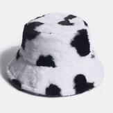 Chapeau de seau tout-assorti décontracté de plein air de vache en peluche chaude de cheveux de lapin unisexe