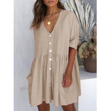 Women Button Mini Dress
