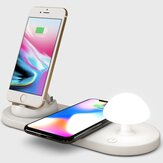 Carregador sem fio Bakeyy Mushroom QI com abajur de cabeceira 10W Almofada de carregamento sem fio para iPhone 12 Pro Max POCO X3 NFC para Samsung Galaxy Note S20 ultra para Mi 10