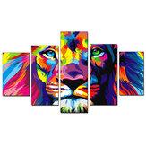 5 uds pinturas impresas en lienzo Colorful León pared impresión decorativa imágenes artísticas sin marco colgante de pared decoración de oficina