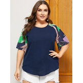 Plus Size Patchwork Crew Neck Half Sleeves Vintage Casual Blouse