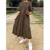 Vestidos maxi femininos com babado simples em camadas de cor sólida em volta do pescoço com meia manga