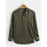 Chemises Henley Vintage à Manches Longues et à Ourlet Haut