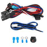 12V Coche Kit de cableado de luz antiniebla universal Interruptor redondo con rojo LED Lámpara
